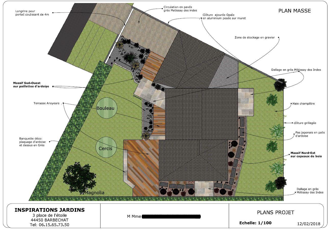 Plan masse : créations d'allées et de terrasse autour d'une construction neuve. INSPIRATIONS JARDINS