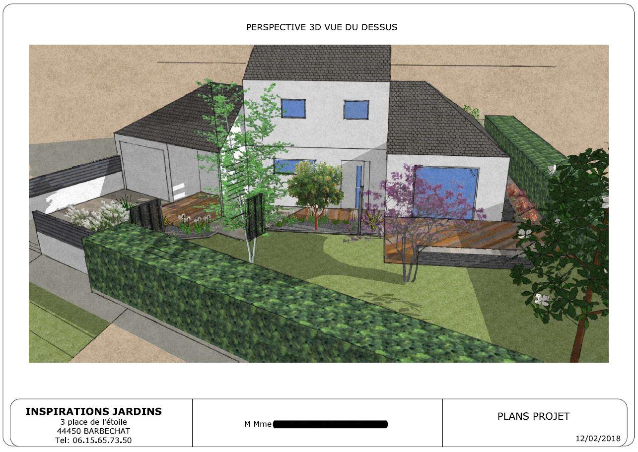 PERSPECTIVE 3D : Aménagement d'une entrée de maison. INSPIRATIONS JARDINS