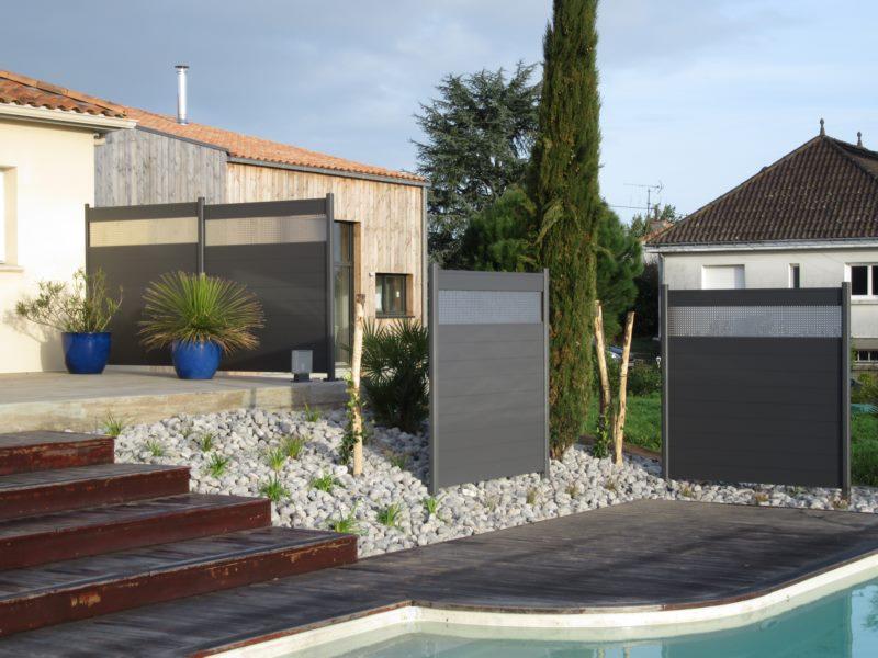 Panneaux brise vue alu-massif de bord de piscine